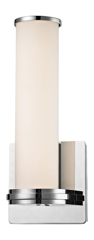 エルク照明wsl1301?–?10?–?15バトン1ライトLED壁取り付け用燭台、ホワイトオパール、ガラス、クロム