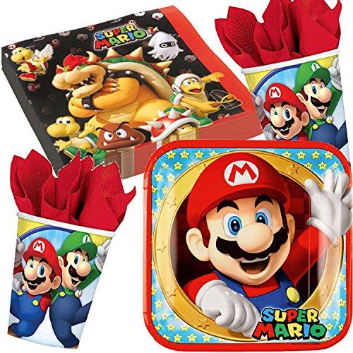 37-teiliges Partyset * SUPER MARIO BROS * mit Teller + Becher + Servietten + Deko // Kindergeburtstag Kinder Set Geburtstag Party Mottoparty Motto Luftballons Luigi Toad Bowser
