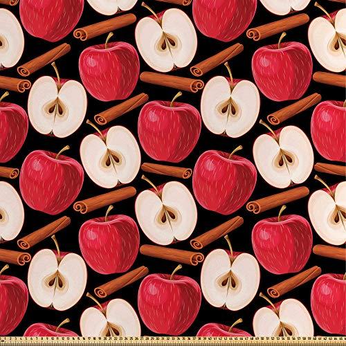 ABAKUHAUS Apfel Satin Stoff als Meterware, Zimtstangen Früchte, Qualitäts Stoff Heimtextilien Wohnaccessoires, 5M (148x500cm), Zimt Creme Rot