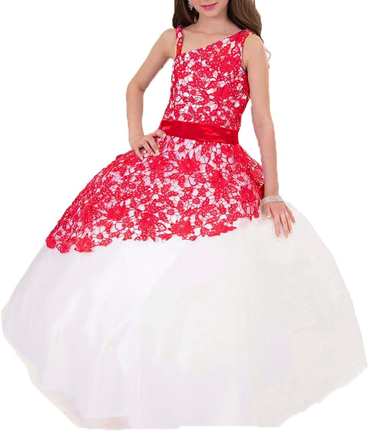 DKBridal Girl's One Shoulder Lace Flower Girl Dresses Tulle Pageant Ball Gown