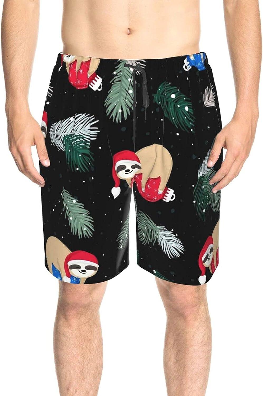 JINJUELS Men's Swim Shorts Christmas Sloth Swim Short Boardshort Quick Dry Comfy Swimwear Beach Shorts with Mesh Lining