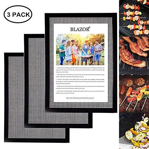 BLAZOR Grillmatte, 3er-Set Antihaft-Grillmatten, von der FDA zugelassen für Holzkohle-, Gas- oder Elektrogrill, hitzebeständig, strapazierfähig, wiederverwendbar und leicht zu reinigen (Schwarz)