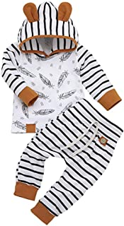 Ropa Bebe Niña Niño Otoño Invierno 0 a 3 6 12 18 24 Meses de Recién Nacido - Pluma Sudadera con Capucha de Manga Larga + Pantalones a Rayas - 2PC / Conjuntos