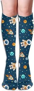 ユニセックススペース宇宙飛行士惑星ロケット幼稚なスポーツ陸上競技ロングソックスノベルティニーハイソックス