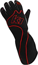 K1 Race Gear RS1 Reverse Stitch Kart Racing Gloves (Red/Black, Large)