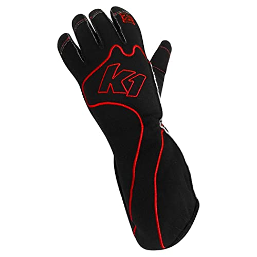 4e1767e88f K1 Race Gear RS1 Reverse Stitch Kart Racing Gloves (Red/Black, Large)