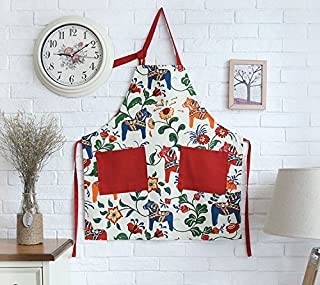 Glife Decor Great Gift for Mum Red Apron for Women with Pockets, Fashion Dala Horse Design
