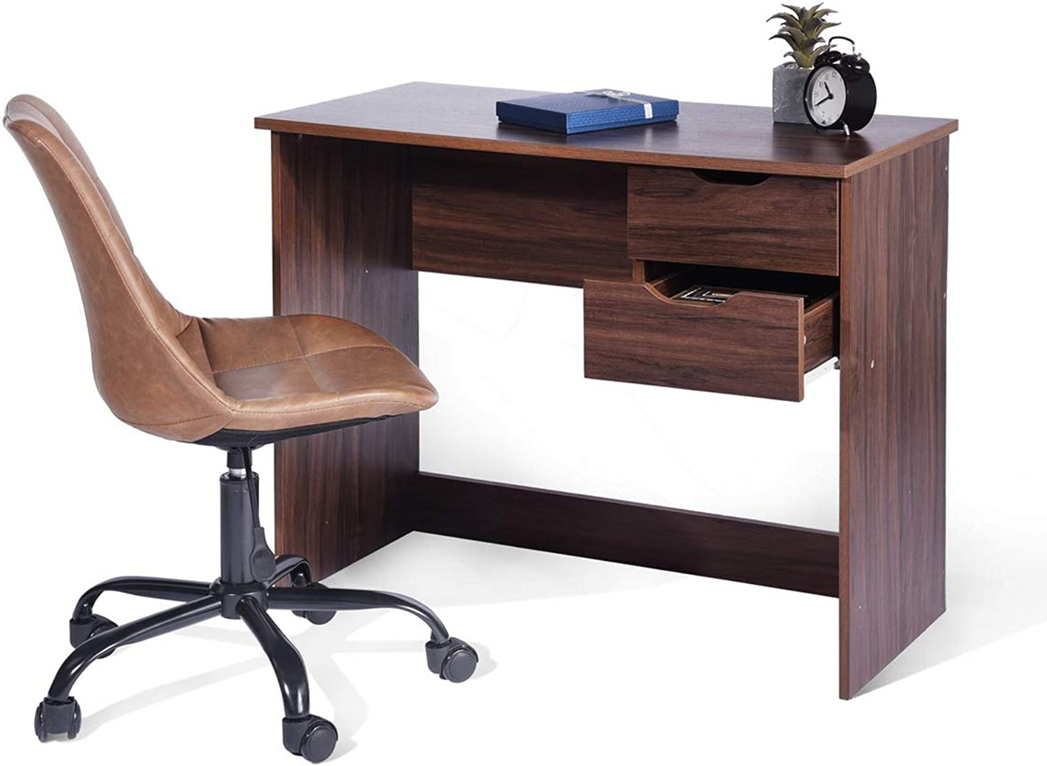 Gimify Computer Notebook Desk Study Writing Table with 2 Side Drawers for Home Office Brown