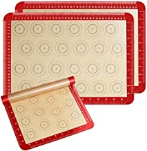"Macaron Mat Silicone Baking Mat Set of 3 Half Sheet Non Stick for Macarons/Pastry/Cake/Bread Making (16.5"" x 11.6"")"