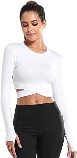 DREAM SLIM Women Crop Tops Tummy Cross Short Sleeve Yoga Running Shirts Gym Workout Tank Tops