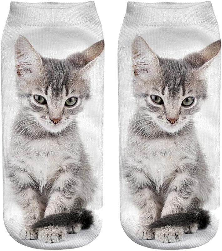2019 New Christmas Socks Popular Funny Unisex Short Socks 3D Cat Printed Anklet Socks Casual Socks One Size H