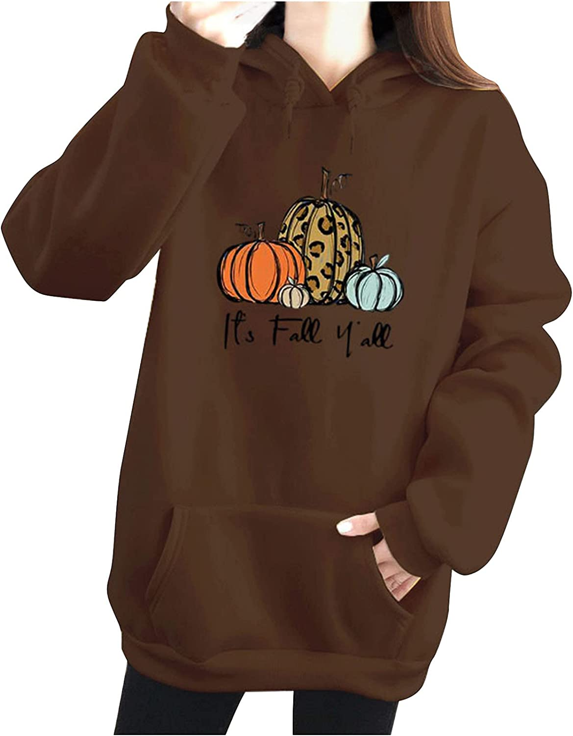 Max 69% OFF It's Fall Yall Hoodies for Women Long Warm Pumpkin Print Sleeve Al sold out.