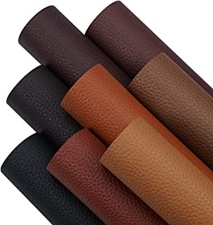 8 Pieces 8x12 Inch Dark Color Litchi Grain Texture Faux Leather Sheets Including 8 Color Leather Sheets for Leather Bows a...
