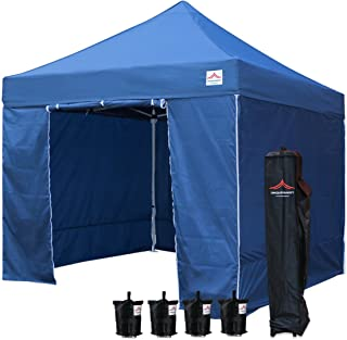 UNIQUECANOPY 10'x10' Ez Pop Up Canopy Tent Commercial Instant Shelter, with 4 Removable Zippered Side Walls and Heavy Duty Roller Bag, 4 Sand Bags Navy Blue