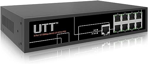 UTT S1081P-24V Passive PoE 8-Port Unmanaged Fast Ethernet, PoE Switch, 8 Passive PoE Ports 130W, 24V Passive PoE, Additional 1-Port Fast Ethernet for Uplink