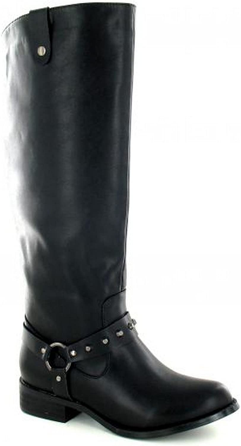 Spot On Womens Ladies Studded Ring Strap Knee High Boots