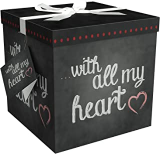Gift Box 12x12 Amrita Heart Pop up in Seconds Comes with Decorative Ribbon Mounted on The lid A Gift Tag and Tissue Paper - No Glue or Tape Required