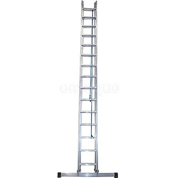 Escalera industrial de aluminio apoyo doble extensión mecánica 2 x 15 peldaños con barra estabilizadora serie factory: Amazon.es: Hogar