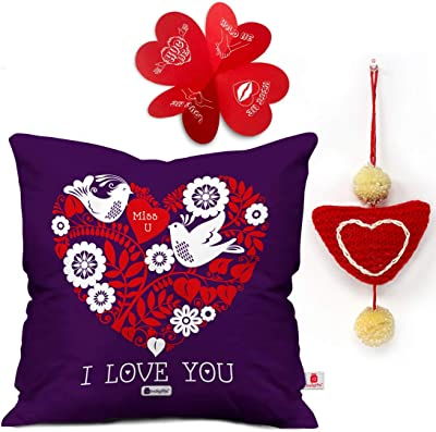 Indigifts Valentine Day Gift Love Quote Cushion Cover 18x18 inches & 1 Heart Hanging - Valentine Gifts for Girlfriend, Gift for Boyfriend, Husband Gift