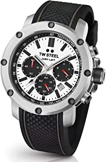 TW Steel Men's Simeon Panda Stainless Steel Quartz Silicone Strap, Black, 24 Casual Watch (Model: TS9)