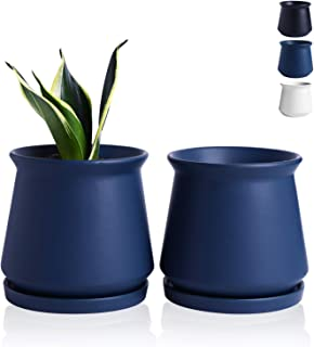 Wencassy Plant Pots - 4.5 Inch Indoor Ceramic Planters with Connected Saucer, Pots for Succulent and Little Snake Plants, Set of 2, Matte Navy