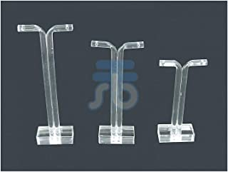 Clear Acrylic Jewelry Display T Stand for Stud, Dangle, Hoop Earrings, Pack of 9 (Square Base)