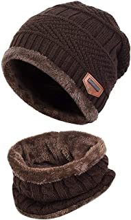 AMAZACER Childrens/Kids Warm Knitted Beanie Hat and Circle Scarf Set (Color : Coffee)