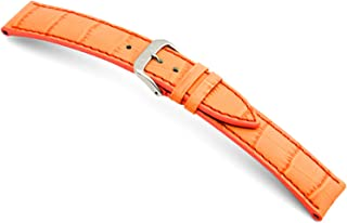 RIOS1931 Louisiana - Genuine Embossed Leather Watch Band with Gator Print and Matching Stitching