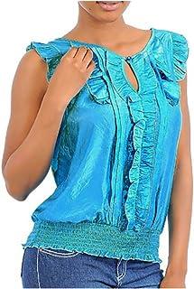 Imaginary Diva Sexy Blue Turquoise Romantic Ruffle Sleeveless Blouse