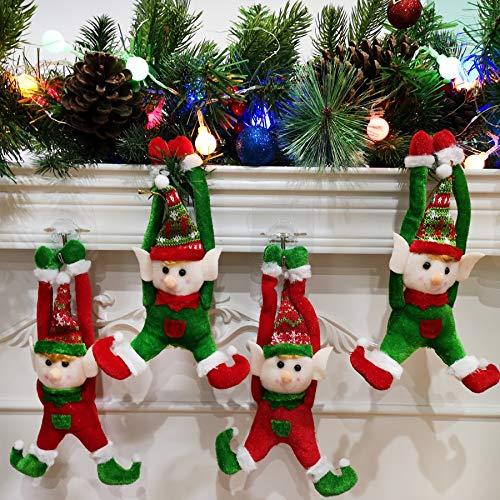 Houwsbaby 4 pcs Christmas Elves Dolls Set Stuffed Elf Couples Xmas Hanging Decoration Boy and Girl Adorable Elves Figure Plush Toys Hanging Ornaments, 9''