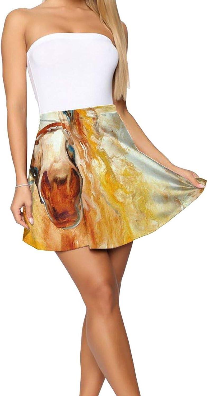 RHRFOL Golden Grace Equine Abstract Women's Basic Versatile Stretchy Flared Casual Mini Skater Skirt
