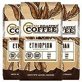 Fresh Roasted Coffee LLC, Ethiopian Yirgacheffe Coffee, Medium Roast, Ground, 12 Ounce Bags, 3 Pack