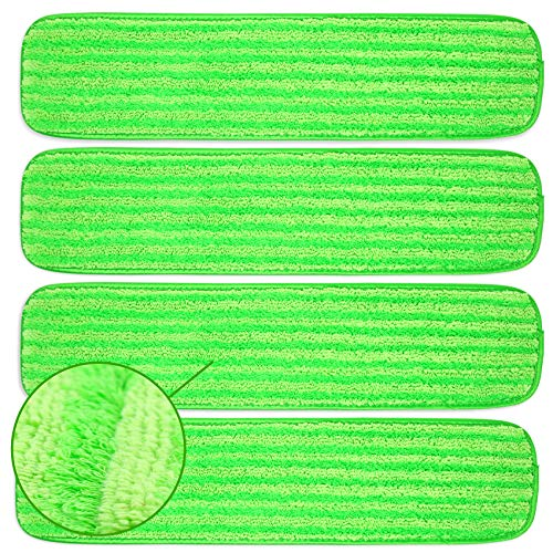 "Microfiber Mop Pads 4 Pack - Reusable Washable Cloth Mop Head Replacements Best Thick Spray Wet Dust Dry Flat Velcro Attachment 18"" Inch - Cleaning Refill Fits Bona, Bruce, Rubbermaid, Libman + More"