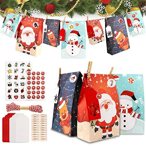 Jane Choi Adventskalender Zum Befüllen, 24 Weihnachten Adventskalender selber befüllen für Männer Mädchen Kinder, Weihnachtskalender Adventstüten Papiertüten Geschenktüten Mit 1-24 Aufkleber