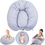 Chilling Home Nursing Pillow, Original Breast Feeding Pillows for Babies or Moms with Inner Cushion, Removable 100% Cover for Pregnancy Pillow, 47 inches, Grey