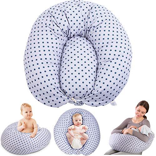 Chilling Home Multifunktionales Schwangerschaftskissen Stillkissen mit Kleines Stillkissen für Baby Mutter, Ganzkörper Seitenschläferkissen Mutterschaftskissen mit Waschbarer Bezug aus (grau)