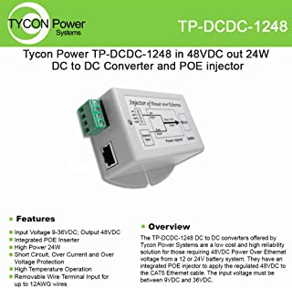 Tycon Systems TP-DCDC-1248 48V POE Out 24W DC to DC Converter and POE Inserter