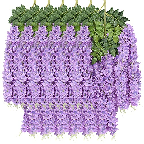 New rui cheng Artificial Flowe Vine Ratta Guirnalda Colgante Seda Wisteria Flores Púrpura 12Paquete Conjunto Flores Falsas Hojas Verdes Planta de Plástico Para Fiesta en Casa Jardín Decoración de Boda
