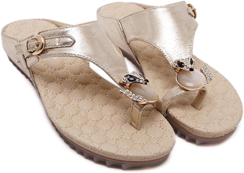 AVENBER Women's Flip Flop Sandals Crystal with Rhinestone Beaded Bohemian Dress Toe Ring Slide Slippers