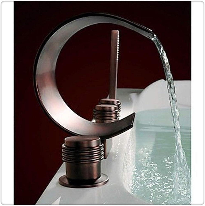 Bathroom Sink Taps Waterfall Moon-Like Spout Oil Rubbed Bronze Tub Tap Shower Bathtub Faucet