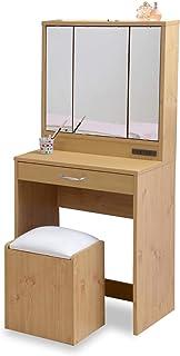 JKプラン ドレッサー 化粧台 鏡台 三面鏡 収納たっぷり 隠し収納庫付 椅子付 メイク台 コンパクト 姫 ナチュラル 幅60 TSFLL0061NA