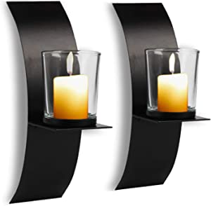 CALIDAKA 2 Pcs Modern Art Candle Holder,Wall Iron Art Candle Holder with Glass Cup Wall Candle Sconces Set Candle Holder Metal Black for Home Wedding Living Room Decoration