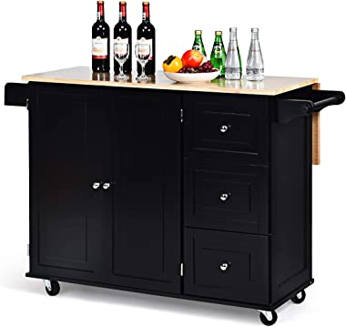 Giantex Kitchen Island Cart with Drop-Leaf Tabletop, Large Trolley Cart with Large Cabinet, 3 Drawers, Towel Rack, Kitchen an