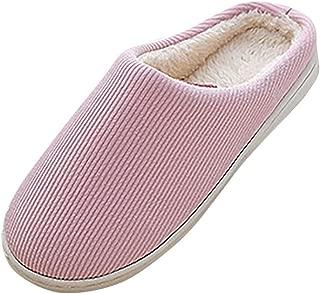 Meigeanfang Women House Slippers Indoor Soft Memory Foam Cotton Knitted Autumn Winter Anti-Slip Shoes