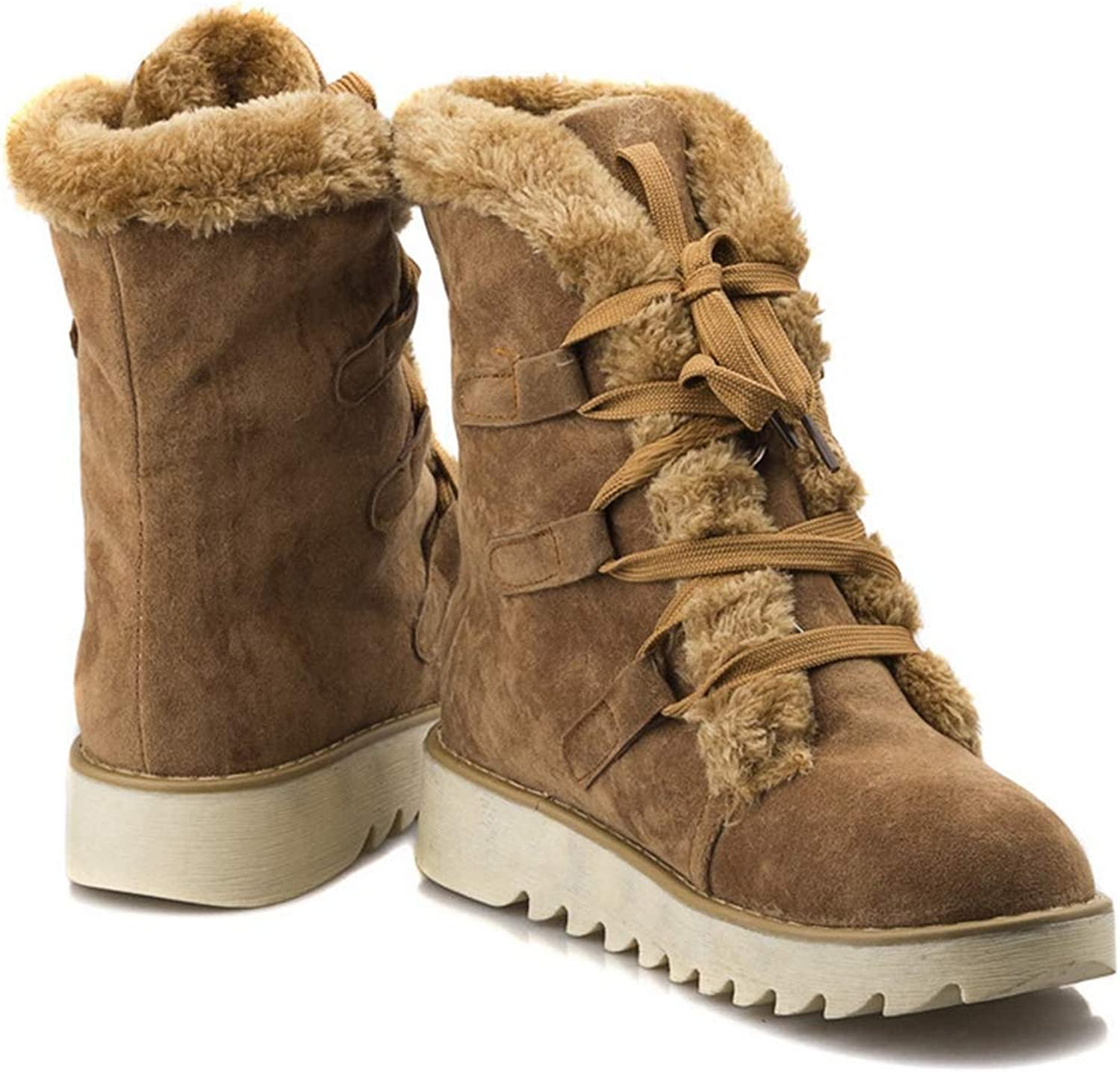 GIY Women's Winter High Top Snow Boots Suede Waterproof Lace Up Warm Fur Lined Cold Weather Ankle Boot Booties