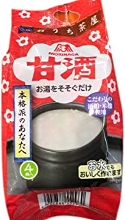 Japan Morinaga Amazake Soft Drink 甘酒お汤 酒粕米麹Gluten FREE Fermented Japanese Rice Soup Beverage 1.9oz total of 4 units