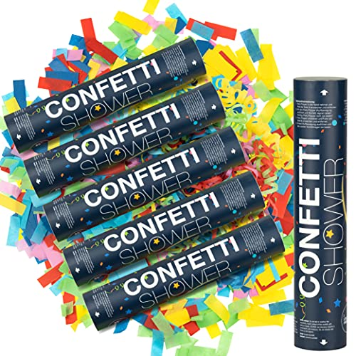 ILP Canon Confettis sans Bang - 6 x Lanceur de Confettis - Fête Colorée avec le Canon a Confettis et Serpetins - Party Popper Comme Décoration de Fête