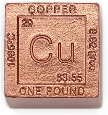 1 Pound Copper Cube Paperweight - 999 Pure Chemistry Design with Certificate of Authenticity by CoinFolio