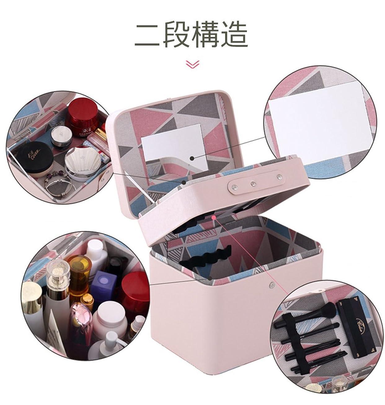 木製国籍アイスクリームSZTulip メイクボックス コスメボックス 大容量収納ケース メイクブラシ化粧道具 小物入れ 鏡付き 化粧品収納ボックス (ピンク)