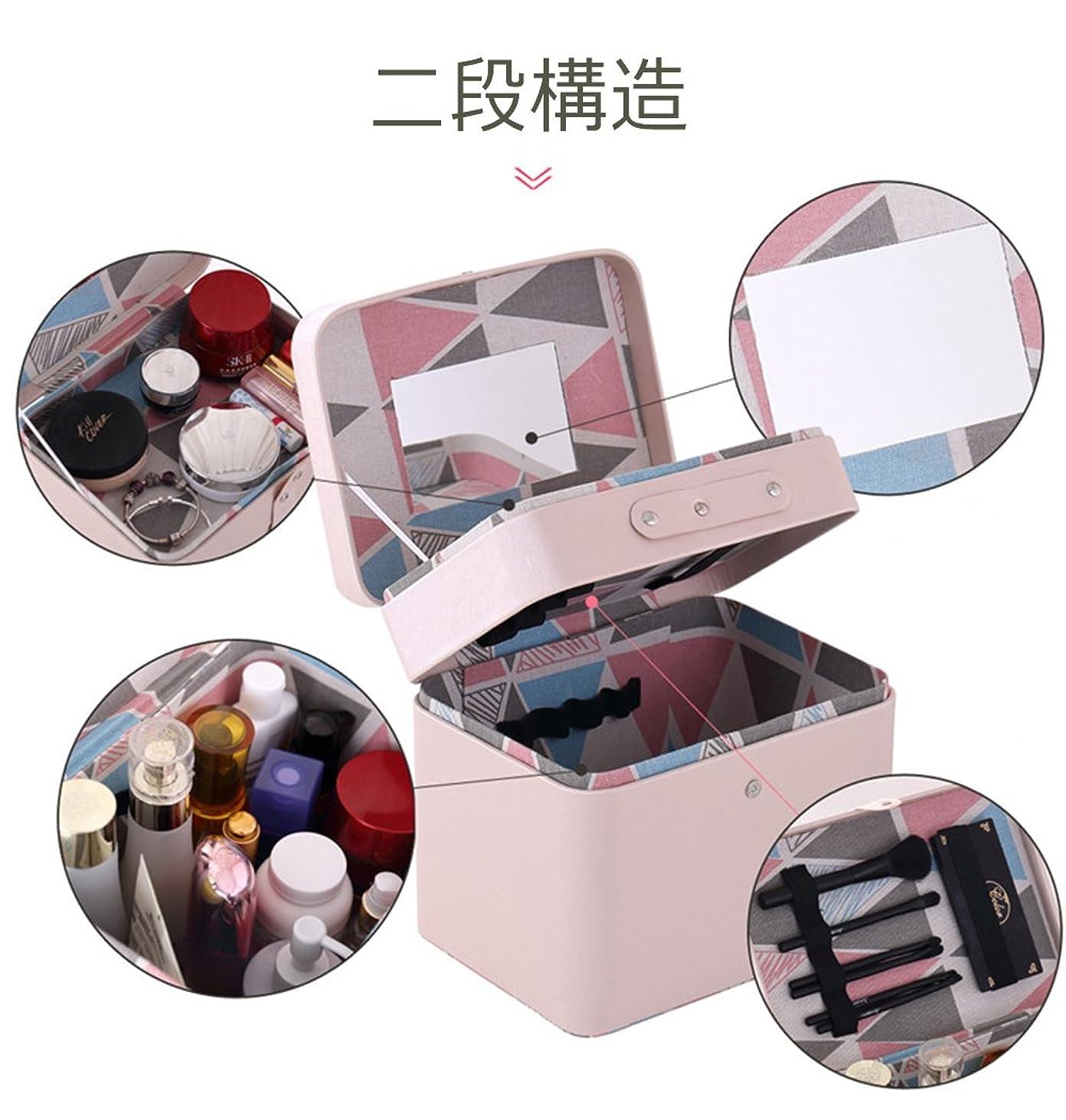 誤って持続するピカリングSZTulip メイクボックス コスメボックス 大容量収納ケース メイクブラシ化粧道具 小物入れ 鏡付き 化粧品収納ボックス (ピンク)